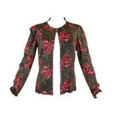 1930s Metallic Rose Beaded Evening Jacket