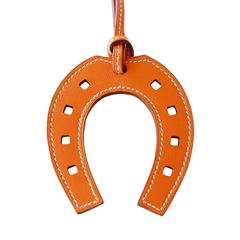 Hermes Paddock Horse Shoe Rare Bag Charm Orange Leather