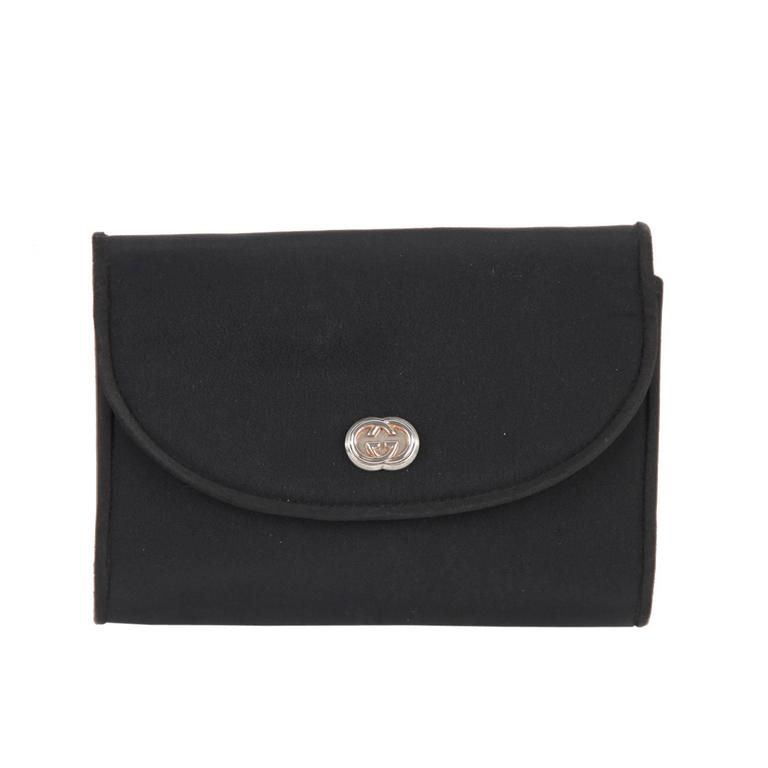a92f4375af0f07 GUCCI Italian VINTAGE Black Fabric CLUTCH Handbag PURSE Evening Bag w/  Chain For Sale