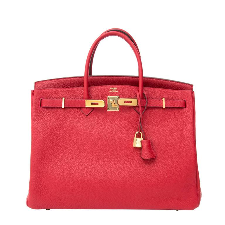 ecbd5bcc32ad Brand New Hermès Birkin 40 Clemence Taurillon Rouge Casaque GHW For Sale