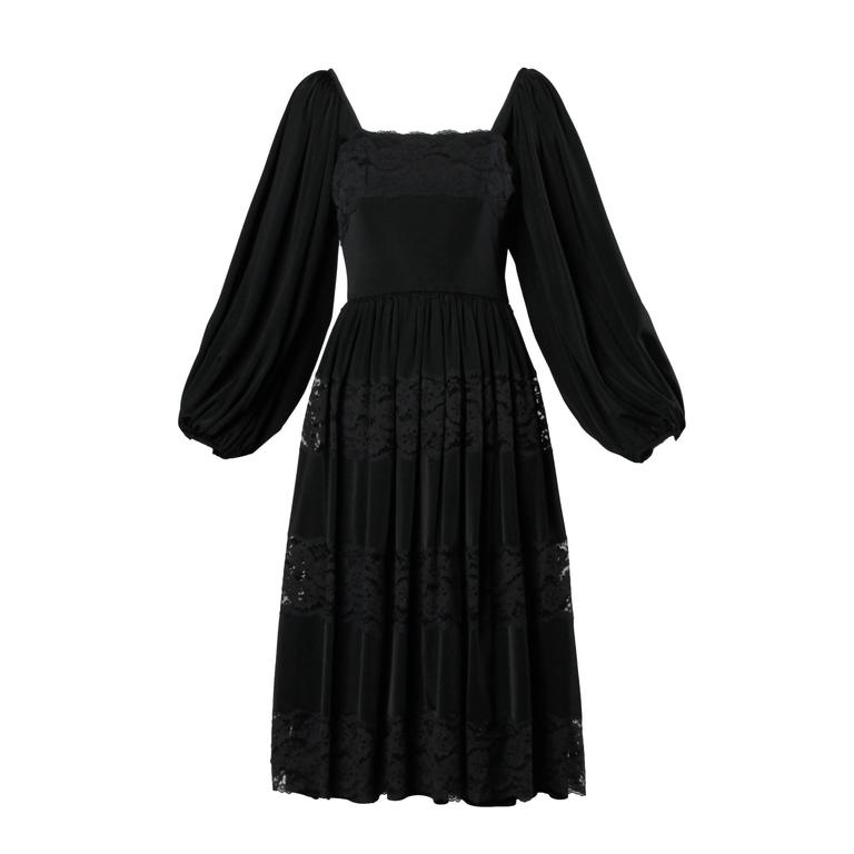 Donald Brooks 1970s Vintage Black Lace Dress with Balloon Sleeves