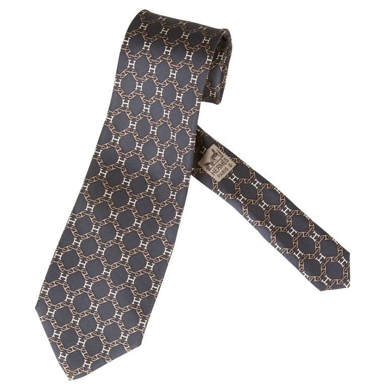 vintage silk hermes h tie at 1stdibs