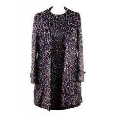 VERSACE Purple Wool Blend DRESS & COAT Set SUIT 2008 Fall Collection Sz 40 IT