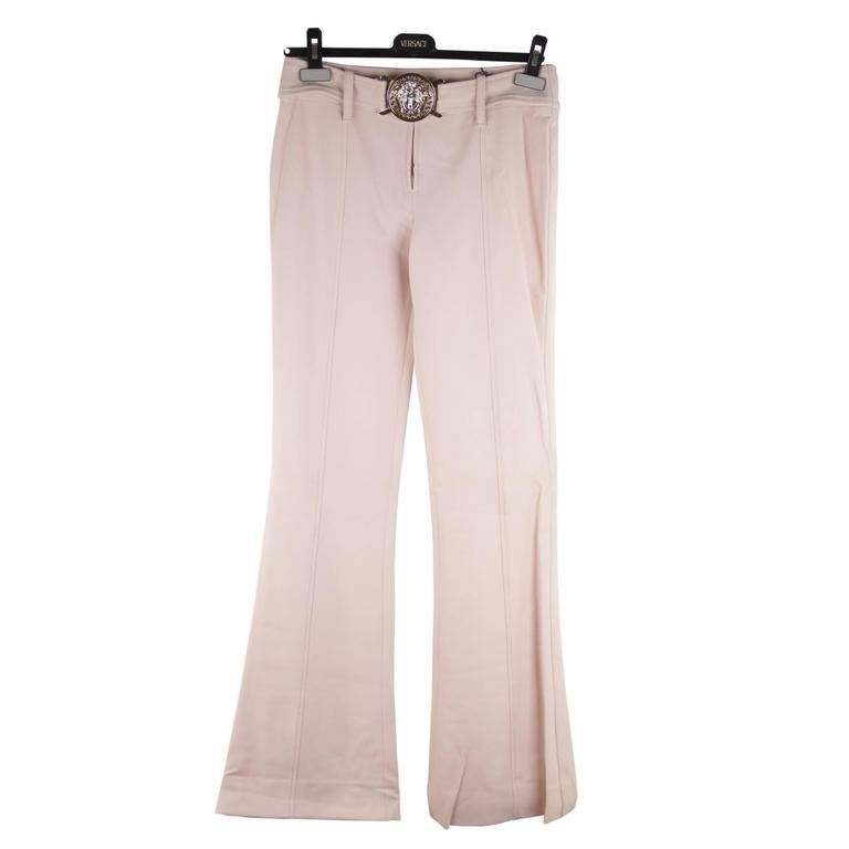 VERSACE Pink Stretch Wool TROUSERS Pants MEDUSA 2005 Fall Collection Sz 40 IT 1