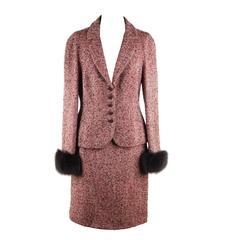 MOSCHINO Italian Red Tweed SUIT Blazer & Pencil Skirt w/ FUR Cuffs 44 IT