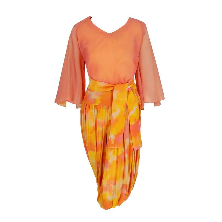 1960's Phyllis Diller Estate Pink & Yellow Chiffon Gypsy Harem-Pants Ensemble  For Sale