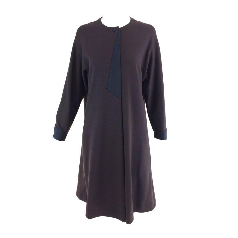 Geffrey Beene brown knit tent dress with black silk twill trims 1980s