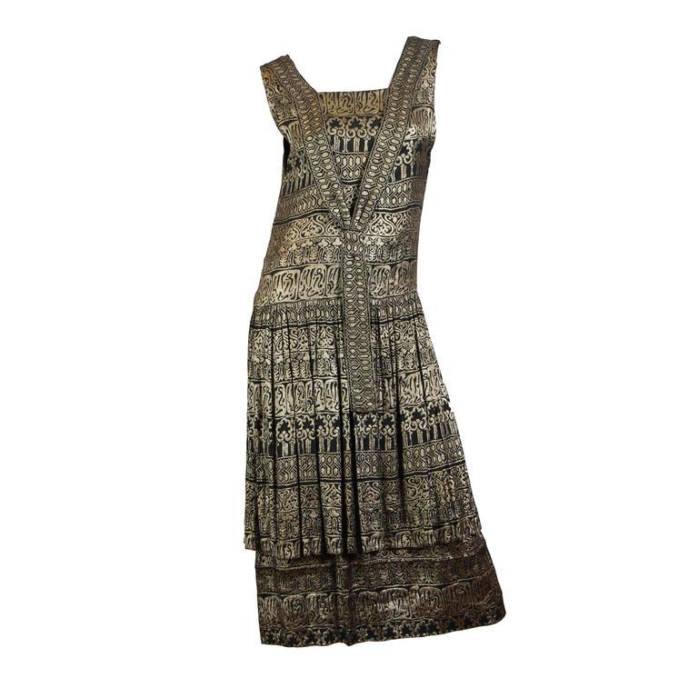 1920s Lamé Dress with Sanskirt For Sale