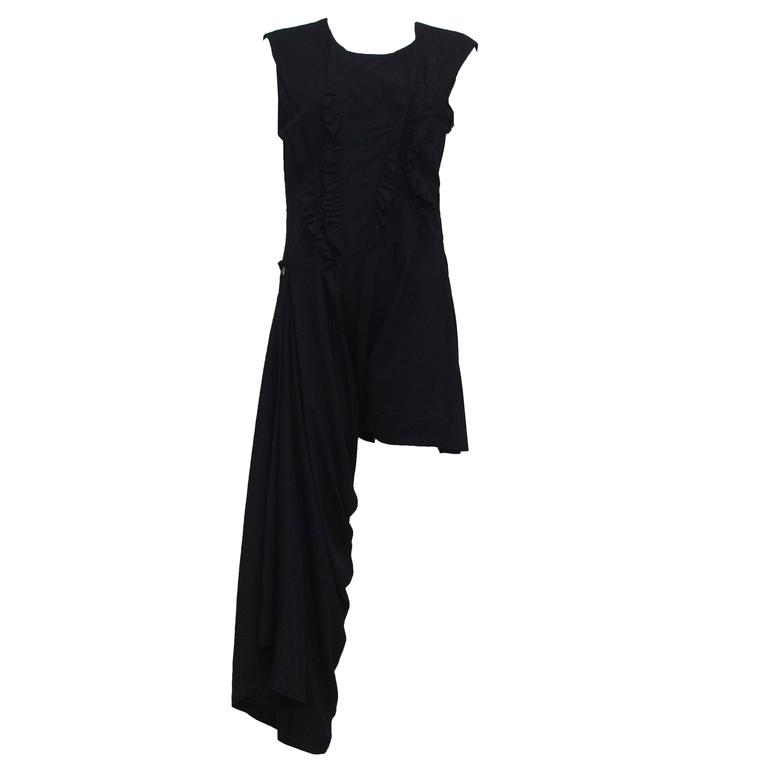 Early Comme des Garcons black asymmetric jumpsuit, c. 1980s