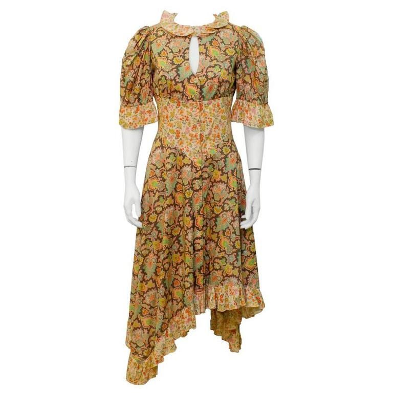1970's Annacat Floral Peekaboo-Front Midi Dress
