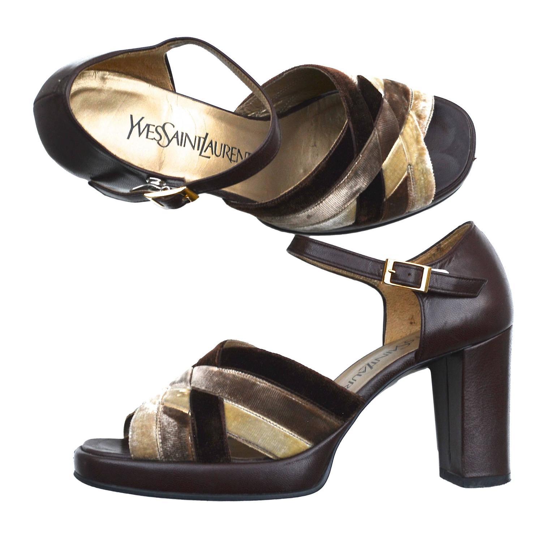 ysl velvet platform sandals at 1stdibs