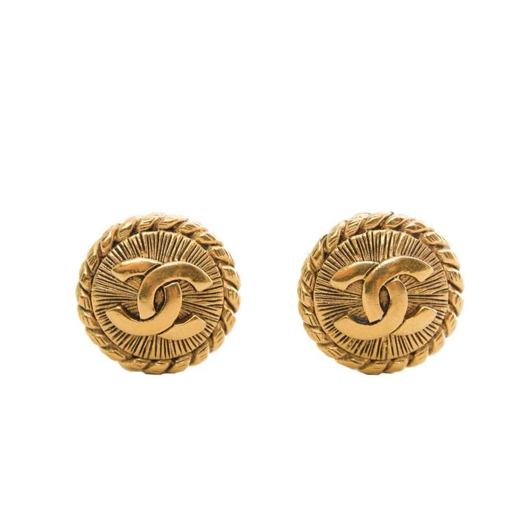 1980s Round Logo Chanel Clip-On Earrings 1