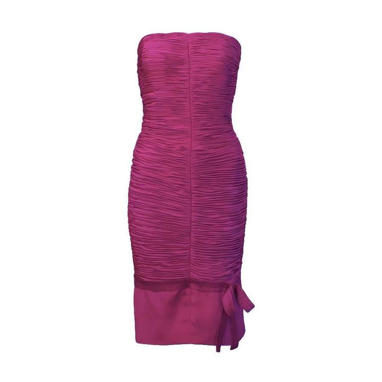 1990's Versace Magenta Wiggle Dress For Sale