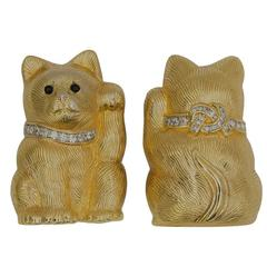 Judith Leiber Rhinestone Gilt Kitty Cat Brooch Pins C1980s