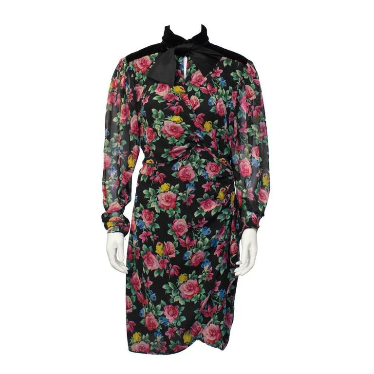 1980's Ungaro Floral Long Sleeve Cocktail Dress