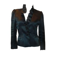 Oscar de la Renta Navy Silk Organza Jacket w/ Pleated Ruffle Collar - 8