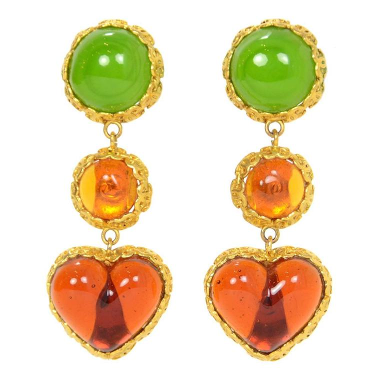 CHANEL Vintage '86 Green Orange Gripoix Clip On Earrings  1