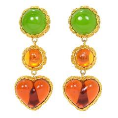 CHANEL Vintage '86 Green Orange Gripoix Clip On Earrings