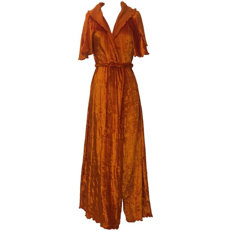 Stephen Burrows 70s Orange Velour Hooded Robe Deadstock 1