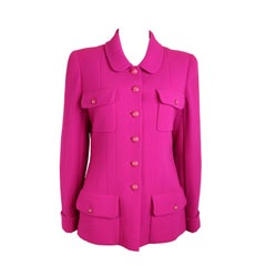 Vintage 1995 Chanel Fuchsia Boucle Wool Jacket