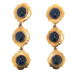 Chanel Earrings in Sapphire Blue Glass