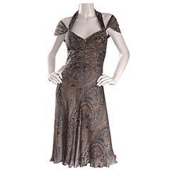 Stunning Badgley Mischka 2000s Silk Beaded Paisley Halter Cap Sleeve Dress