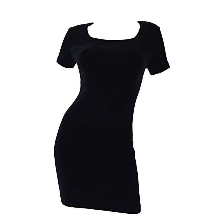 Sexy 1990s Vintage Michael Kors for Bergdorf Goodman Black Velvet Mini Dress LBD 1