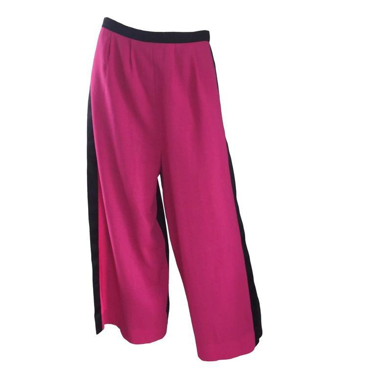 Striking Vintage Galanos Pink + Black Color Block Culottes Wide Leg Wool Pants