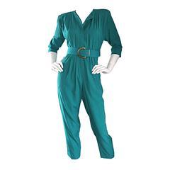 Chic 1980s 80s Teal Green Vintage Jumpsuit Romper Onesie w/ Belt