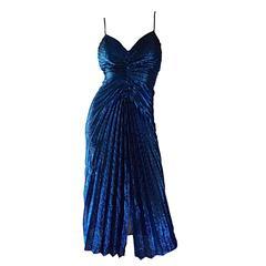 Vintage New Leaf Samir 1970s 70s Sexy Blue Metallic Pleated Disco Dress