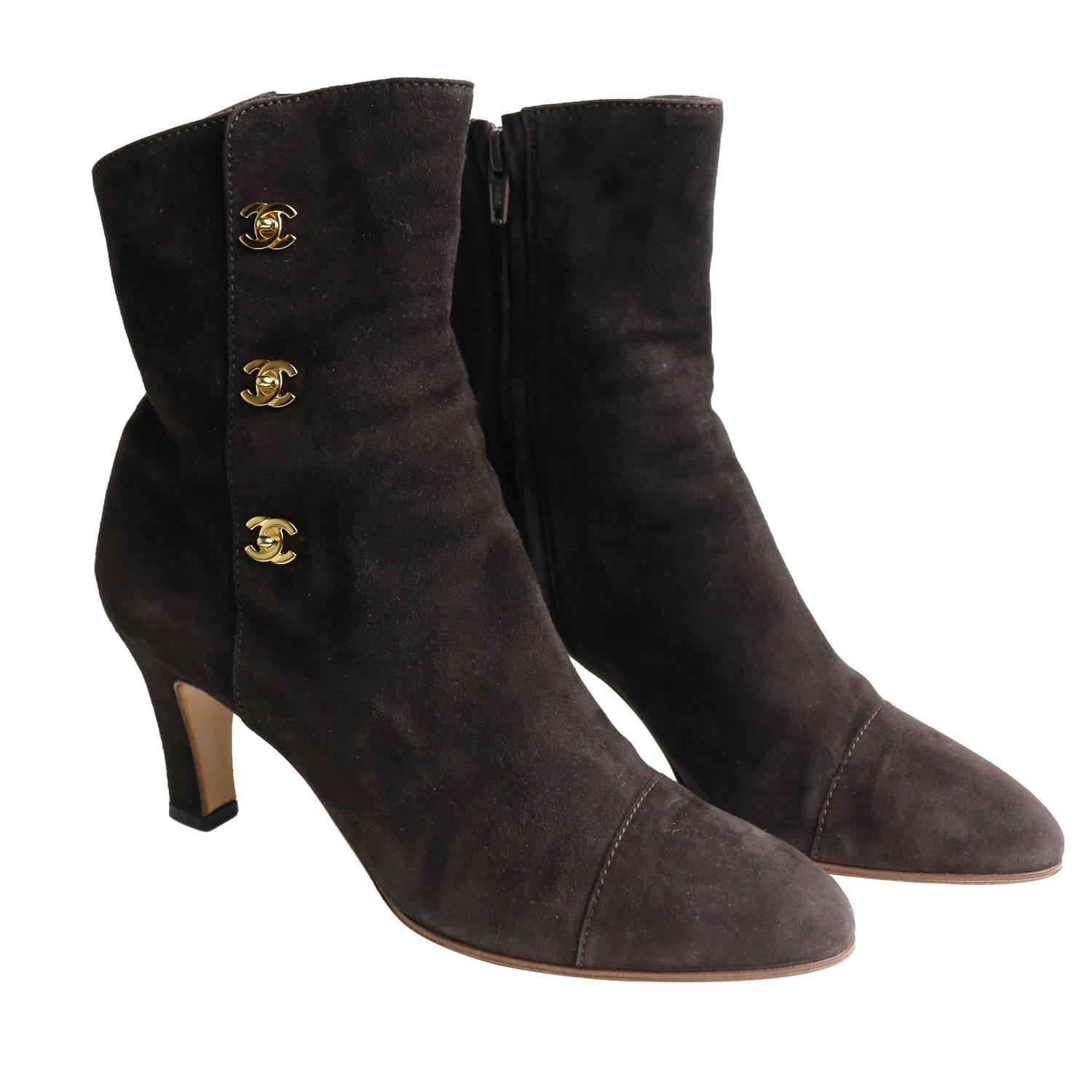 chanel brown suede ankle boots for sale at 1stdibs