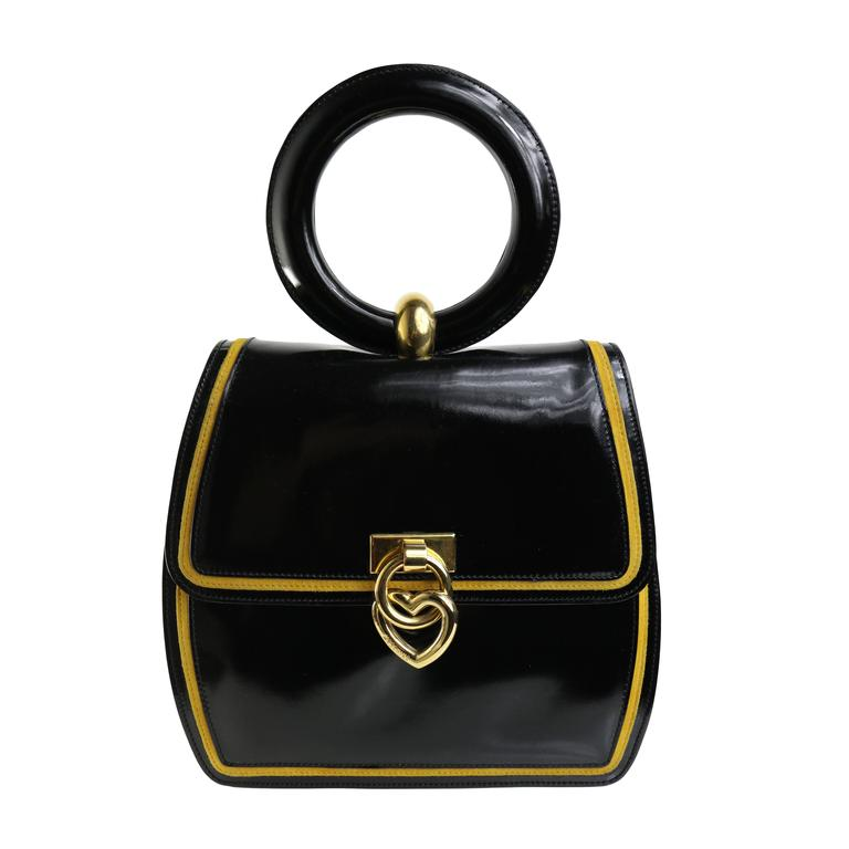 "Moschino Redwall ""Peace & Love"" Black Leather Handle Bag For Sale"