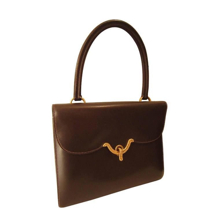 ... closeout hermes dark brown golden closure purse 1940s for sale d30ab  37da5 982f722e1b91c