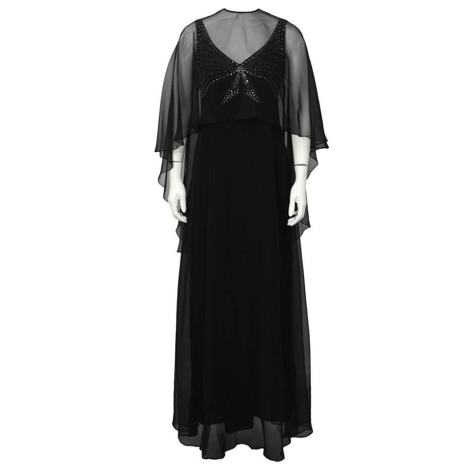 1973 Leo Narducci Black Chiffon Gown and Shawl