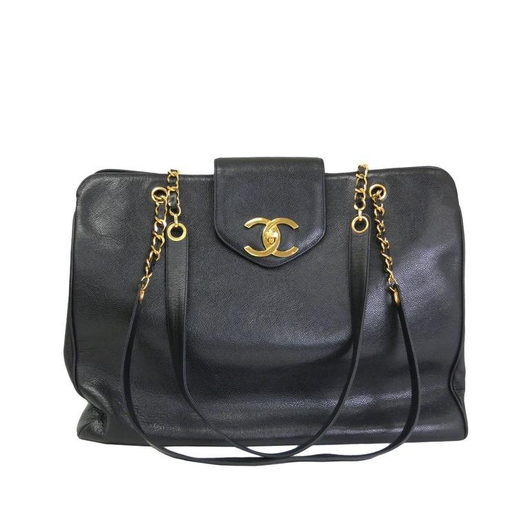 Chanel Black Vintage Caviar Supermodel Overnight Weekender Tote Shoulder Bag For Sale
