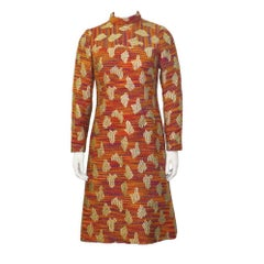 1960's Orange and Gold Long-Sleeve Brocade A- Line Dress