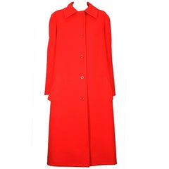 Halston's Double Faced Tomato Red Wool Coat