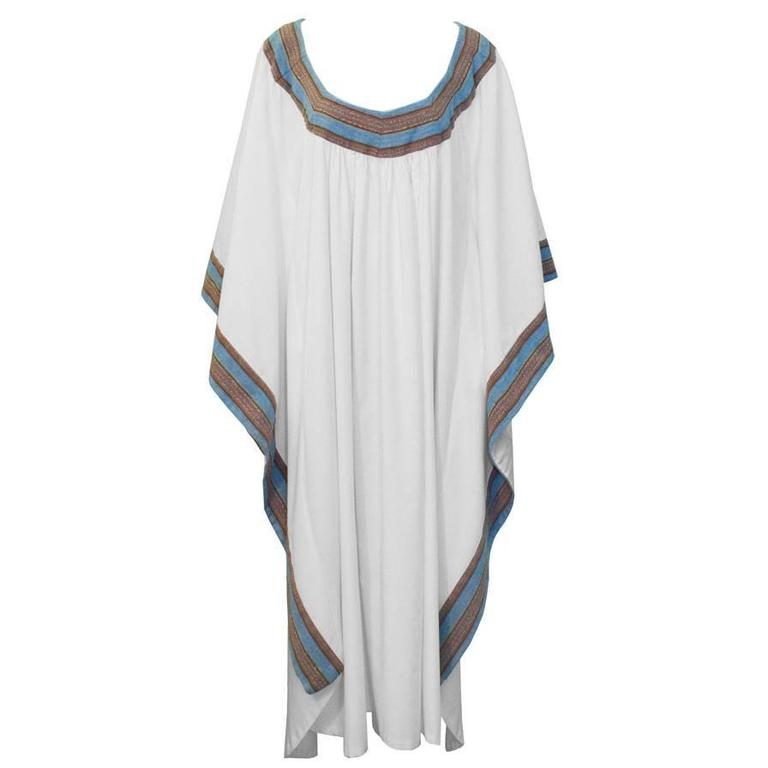 1970's White Cotton African Kaftan With Trim  For Sale
