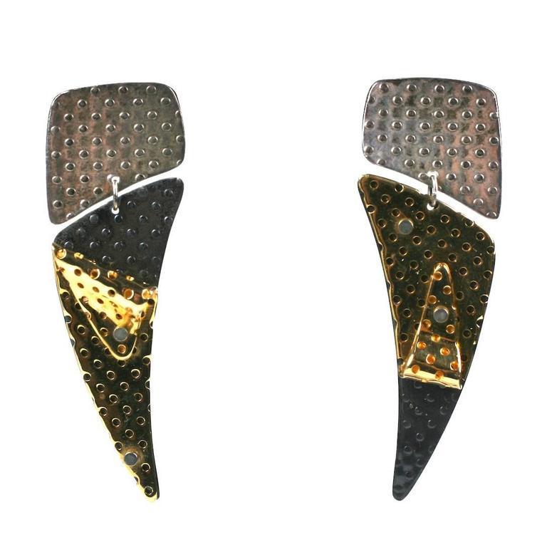 Unusual Parcel Gilt Sterling Earrings For Sale