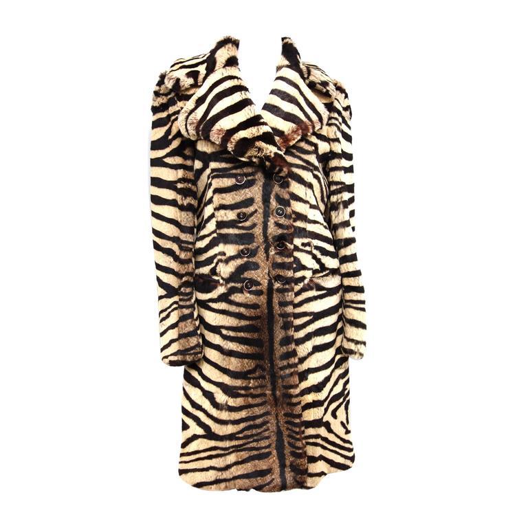 Salvatore Ferragamo Lapin Fur Animal Print Leather Coat  1