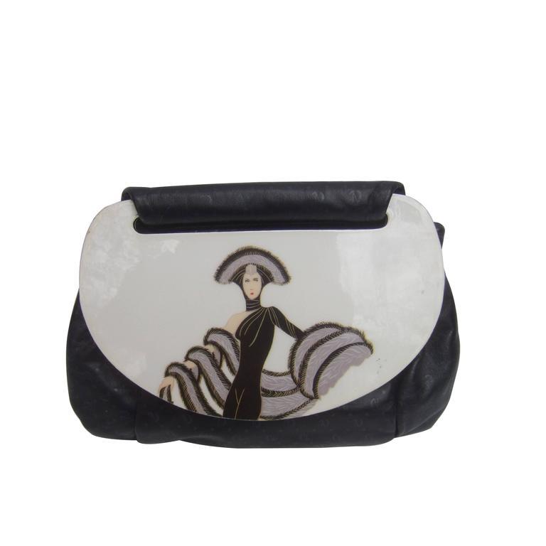 Unique Black Leather Art Deco Inspired Handbag c 1980s
