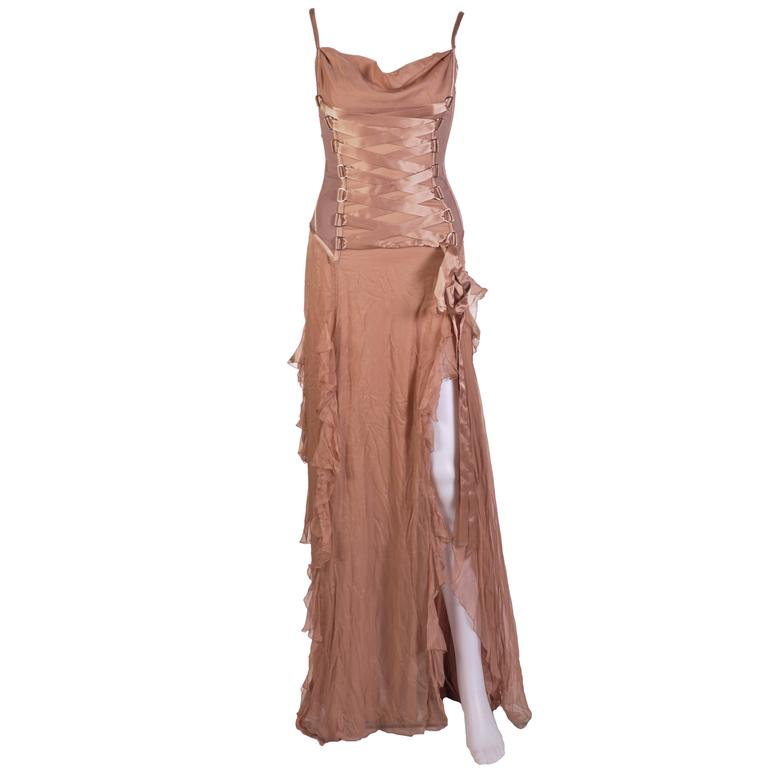 VERSACE Nude Corset Long Dress For Sale