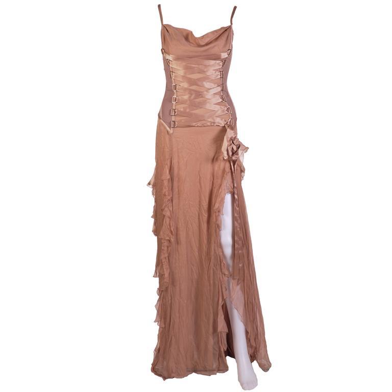VERSACE Nude Corset Long Dress 1