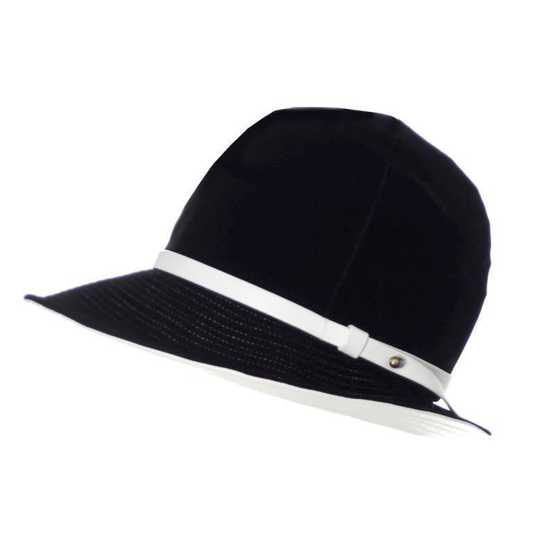 Mr. John 1960s Black Velvet Vintage Hat White Leather Trim Hat Pin I Magnin