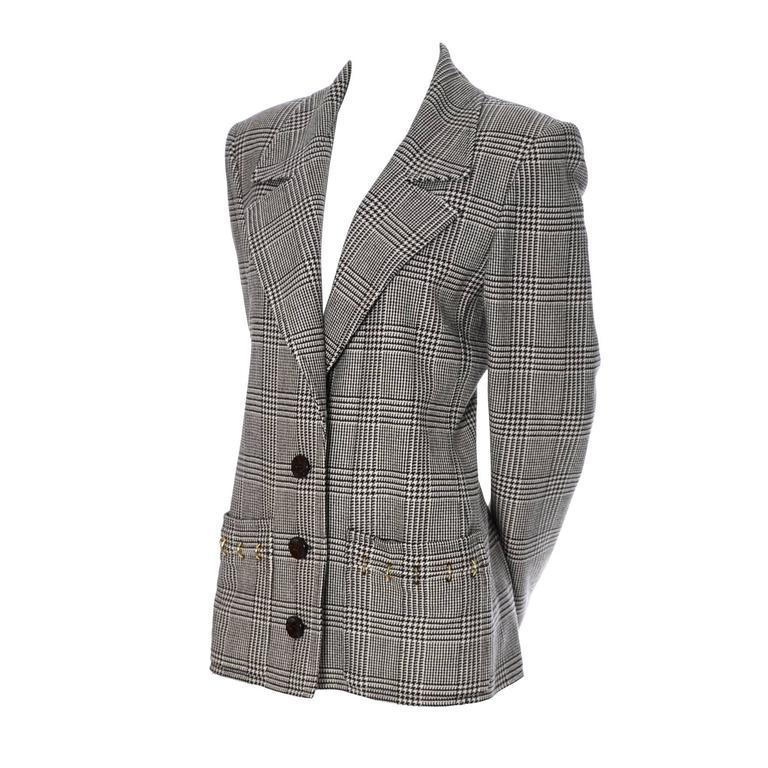 1980s Valentino Boutique Vintage Plaid Wool Blazer Jacket Metal Rings 1