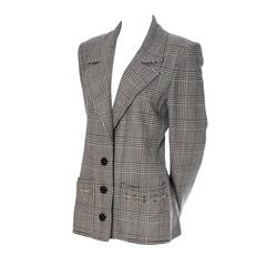 Valentino Boutique Vintage Plaid Wool Blazer Jacket with Metal Rings