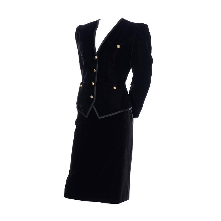 YSL Yves Saint Laurent Rive Gauche Vintage Velvet Blazer Skirt Suit Evening