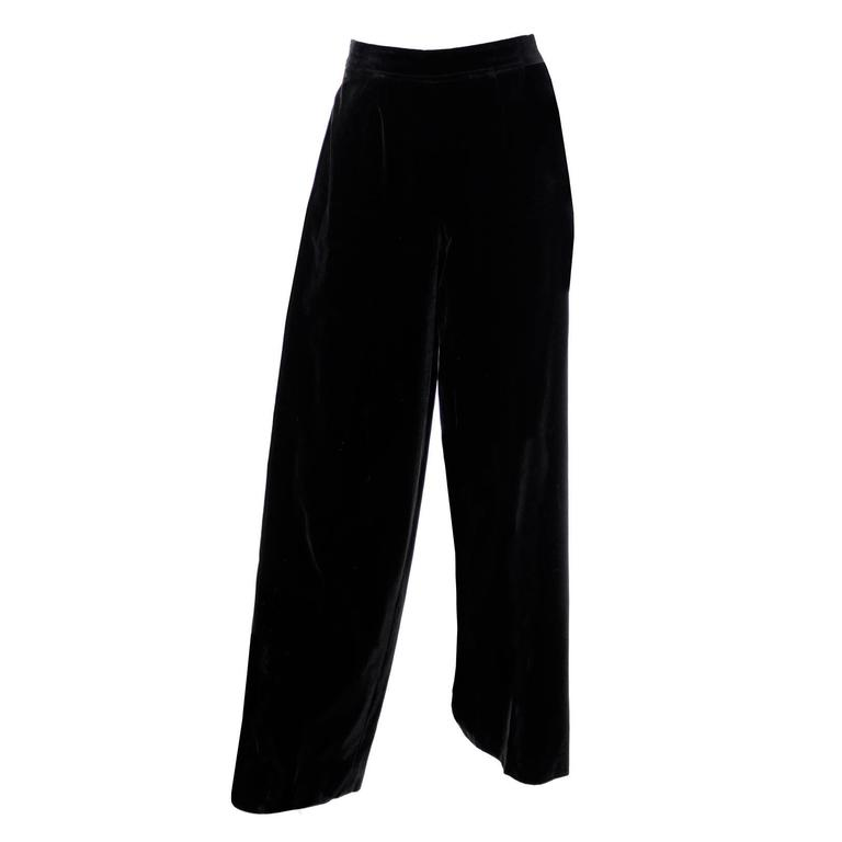 Vintage YSL Black Velvet High Waisted Wide Leg Evening Pants  For Sale