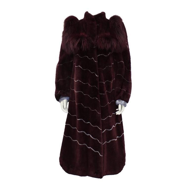 1970's Artist Designed Burgundy and Grey Fur Coat