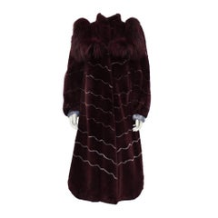 1970's Artist Designed Burgundy and Grey Fur Coat